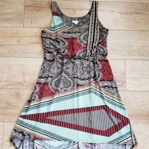[Xhilaration] Multicolor Print High-Low Boho Dress